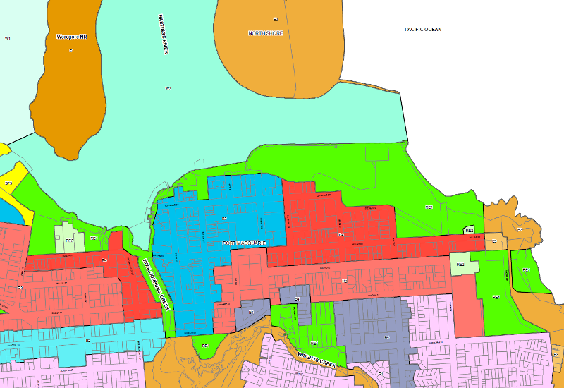 Port Macquarie Hastings Council Local Environmental Plan 2011 Zoning Plan extrac